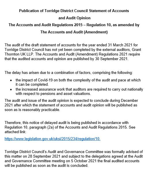 Late Publication Notice
